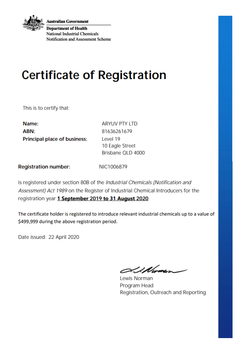 Department of Health Certification of Registration